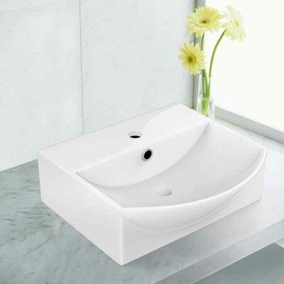 "Ceramic 13.75"" Bathroom Sink with Faucet and Overflow Installation Type: Vessel Sinks"