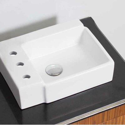 "Ceramic 16.25"" Bathroom Sink with Faucet Installation Type: Vessel Sinks"