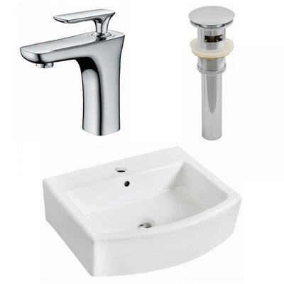 "Ceramic 22"" Bathroom Sink with Faucet and Overflow Installation Type: Vessel Sinks"