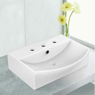 "Ceramic 19.5"" Bathroom Sink with Faucet and Overflow Installation Type: Vessel Sinks"