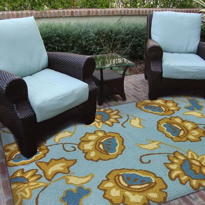 Isler Jacobean Floral Hand-Hooked Spa Blue Indoor/Outdoor Area Rug Rug Size: Rectangle 410 x 66