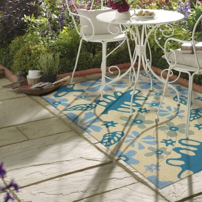 Islas Garden Party Hand-Hooked Cream Indoor/Outdoor Area Rug Rug Size: Rectangle 410 x 66