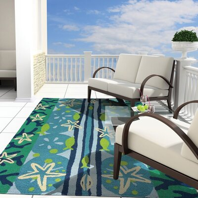 Capucina Ocean View Hand-Hooked Sky Blue Indoor/Outdoor Area Rug Rug Size: Rectangle 210 x 46