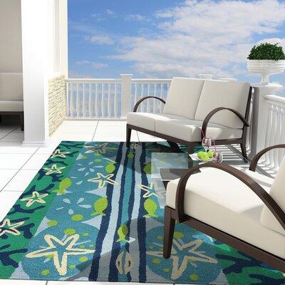Capucina Ocean View Hand-Hooked Sky Blue Indoor/Outdoor Area Rug Rug Size: Rectangle 410 x 66