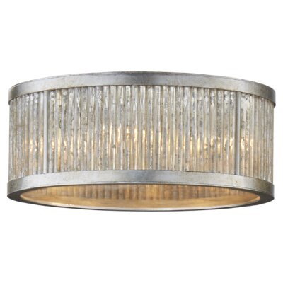 Sophie 5-Light Flush Mount Fixture Finish: Burnished Silver Leaf