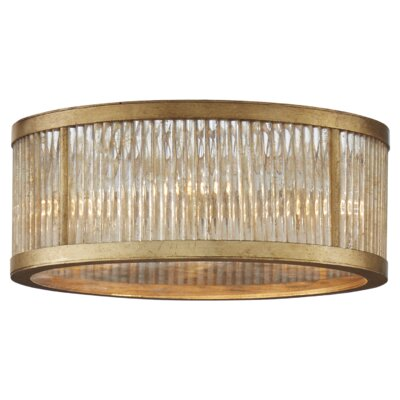 Sophie 5-Light Flush Mount Fixture Finish: Gilded Iron