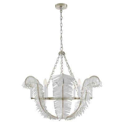 Calais 6-Light Candle-Style Chandelier Finish: Burnished Silver Leaf