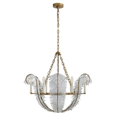 Calais 6-Light Candle-Style Chandelier Finish: Gilded Iron