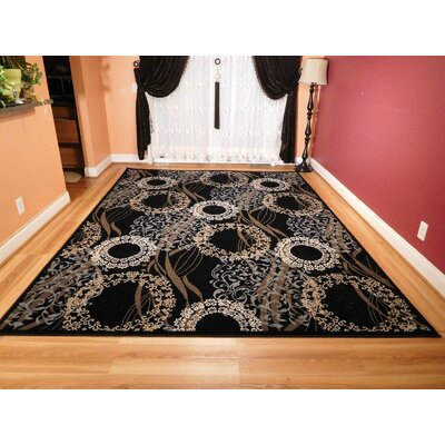 Kinzel One-of-a-Kind Wool Black Area Rug