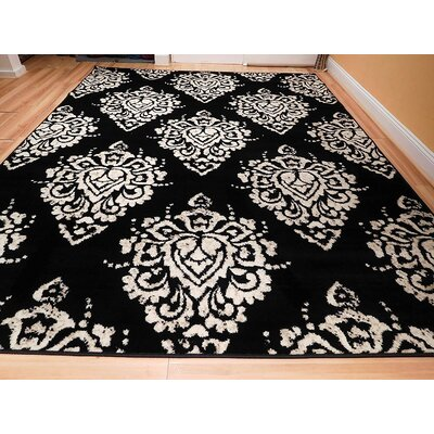 Bernon One-of-a-Kind Wool Black/White Area Rug
