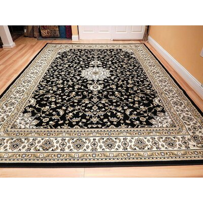 Namboodri One-of-a-Kind Wool Black Area Rug
