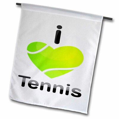 "I Love Tennis with a Heart Shaped Tennis Ball Polyester 1'6"" x 1' Garden Flag fl_125817_1"