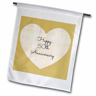 3dRose Garden Flag Happy 50th Anniversary with gold coloured heart background - 12 by 18-Inch
