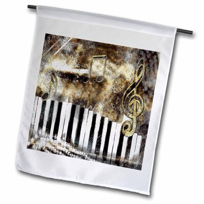 """Keyboard Abstract Art in Earth Tones and Pretty Note Background Polyester 1'6"""" x 1' Garden Flag fl_167054_1"""