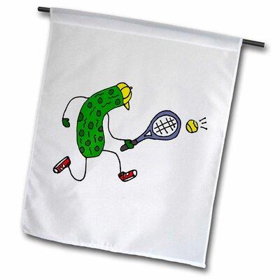 "Funny Pickle Playing Tennis Sports Cartoon Polyester 2'3"" x 1'6"" Garden Flag fl_244607_2"