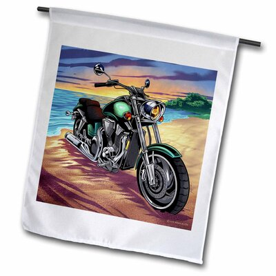 """Motorcycle Parked on the Beach at Sunset Polyester 1'6"""" x 1' Garden Flag fl_252453_1"""