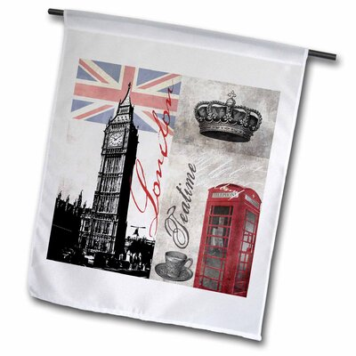 """Illustration Great Britain with Telephone Booth Polyester 1'6"""" x 1' Garden Flag fl_268322_1"""