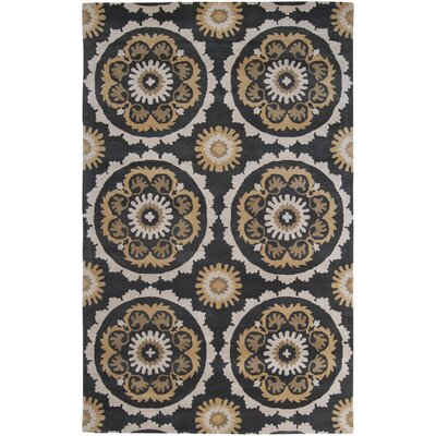 Mosaic Charcoal/Butter Area Rug Rug Size: Rectangle 33 x 53
