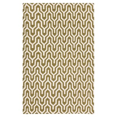 Fallon Hand-Woven Dark Green/White Area Rug Rug Size: 5 x 8