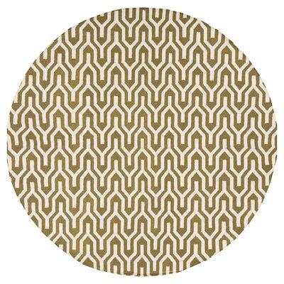 Fallon Hand-Woven Dark Green/White Area Rug Rug Size: Round 8
