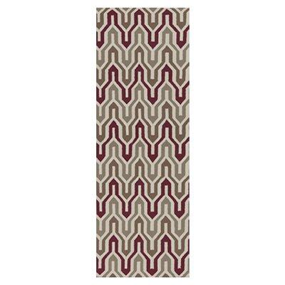 Fallon Hand-Woven Gray/Maroon Area Rug Rug Size: Runner 26 x 8
