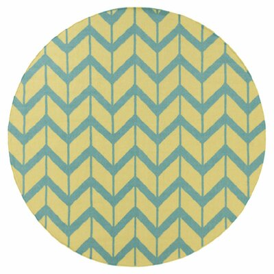 Fallon Hand-Woven Teal Blue Area Rug Rug Size: Round 8