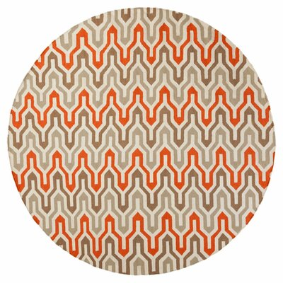 Rosalia  Hand-Woven Orange/Red Area Rug Rug Size: Round 8