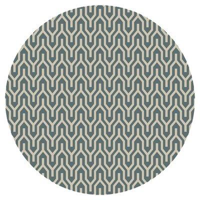 Fallon Hand-Woven Khaki Green/White Area Rug Rug Size: Round 8