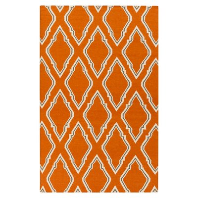 Fallon Papyrus Hand Woven Wool Burnt Orange Area Rug Rug Size: Rectangle 36 x 56