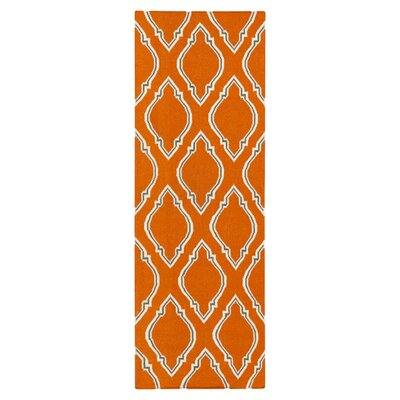 Fallon Papyrus Hand Woven Wool Burnt Orange Area Rug Rug Size: Runner 26 x 8
