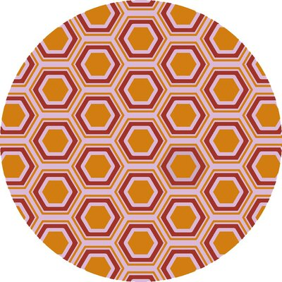 Fallon Hand-Woven Orange/White Area Rug Rug Size: Round 8