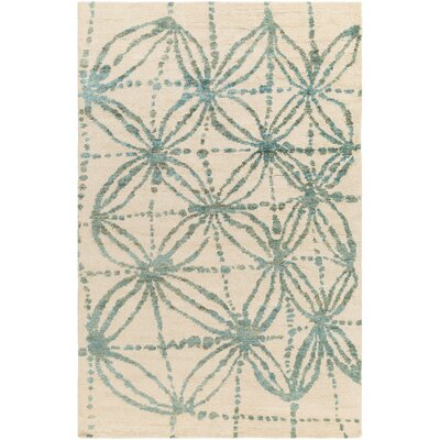 Orinocco Hand-Woven Beige/Blue Area Rug Rug Size: Rectangle 2 x 3