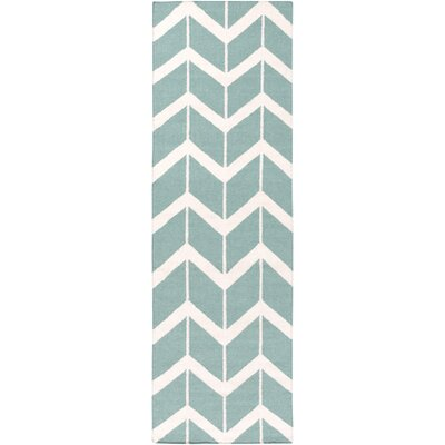 Fallon Malachite Hand-Woven Blue Area Rug Rug Size: Runner 26 x 8