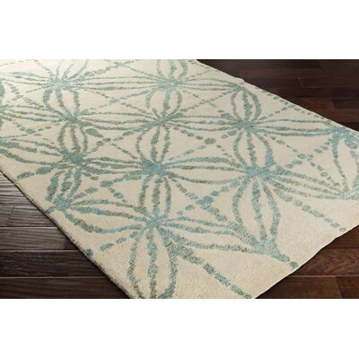 Orinocco Hand-Woven Beige/Blue Area Rug Rug Size: Rectangle 5 x 76