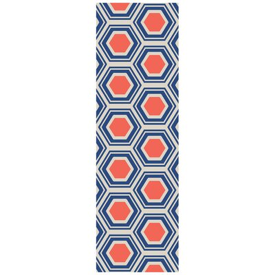 Fallon Royal Hand-Woven Red/Blue Area Rug Rug Size: Rectangle 2 x 3