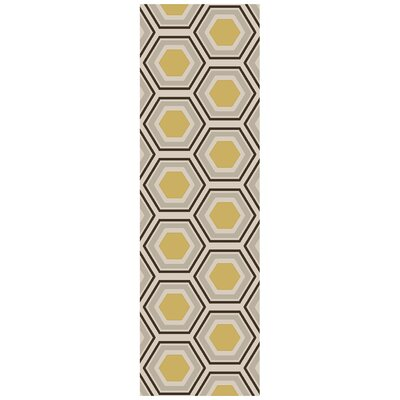 Fallon Hand Woven Wool Beige/Yellow/Black Area Rug Rug Size: Runner 26 x 8