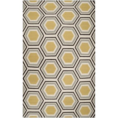 Fallon Hand Woven Wool Beige/Yellow/Black Area Rug Rug Size: Round 8