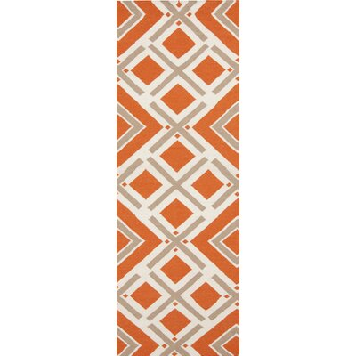 Fallon Orange/Ivory Area Rug Rug Size: Runner 26 x 8