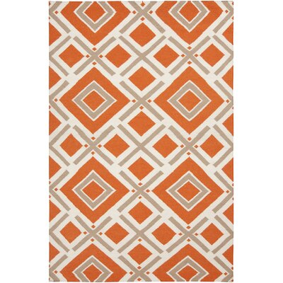 Fallon Orange/Ivory Area Rug Rug Size: 36 x 56