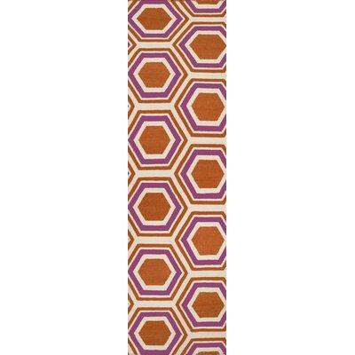 Fallon Hand-Woven Orange/White Area Rug Rug Size: Runner 26 x 8