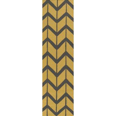 Fallon Citrine Hand-Woven Yellow/Black Area Rug Rug Size: Runner 26 x 8