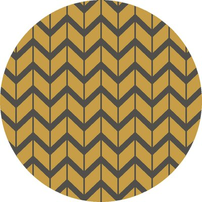 Fallon Citrine Hand-Woven Yellow/Black Area Rug Rug Size: Round 8