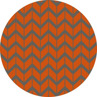 Fallon Hand-Woven Burnt Orange Area Rug Rug Size: Round 8