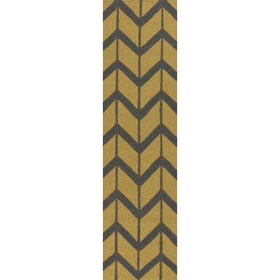 Fallon Split Pea Hand-Woven Gold Area Rug Rug Size: Runner 26 x 8