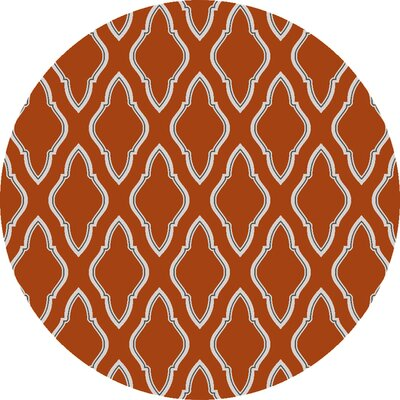 Fallon Papyrus Orange Area Rug Rug Size: Round 8