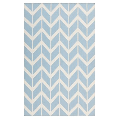Fallon Winter Hand-Woven Sky Blue/White Area Rug Rug Size: 2 x 3
