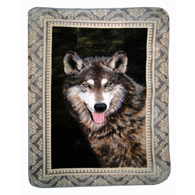 Timber Wolf Throw Blanket with Border