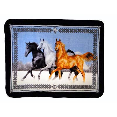 Horses Running Throw Blanket with Border