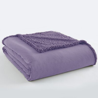 Micro Flannel Sherpa Blanket Color: Amethyst, Size: Full / Queen