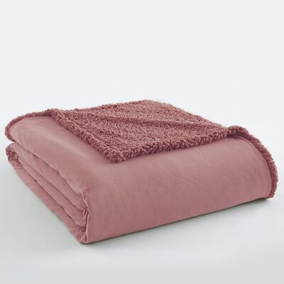 Micro Flannel Sherpa Blanket Color: Frosted Rose, Size: Full / Queen